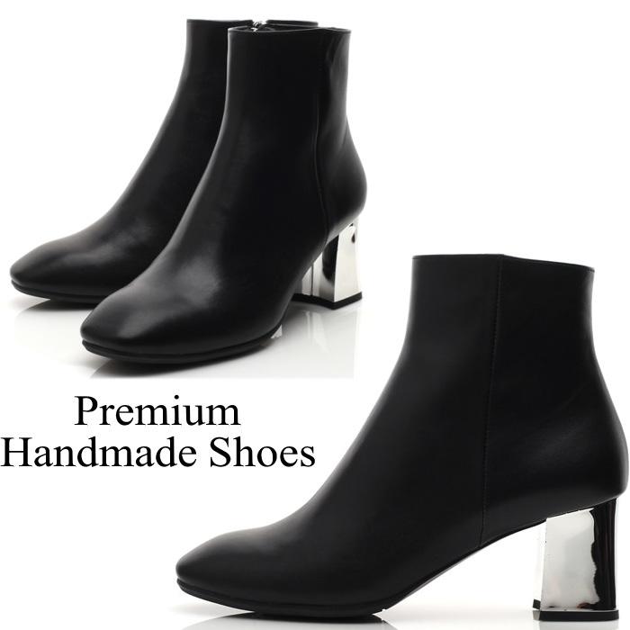 メタリックチャンキーヒールレザーブーツ 本革ブーツ ハンドメイドシューズ 靴通販