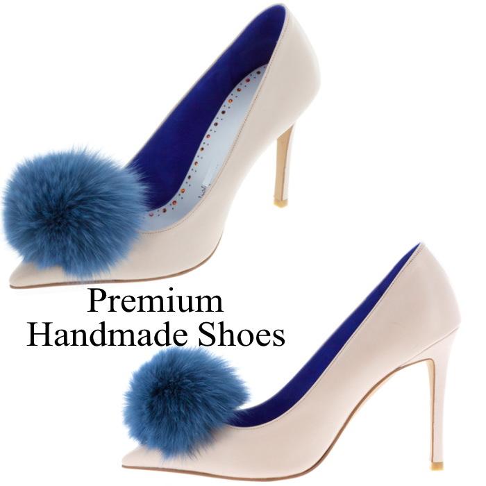 ファーボンボンレザーパンプス 本革パンプス ハンドメイドシューズ 靴通販