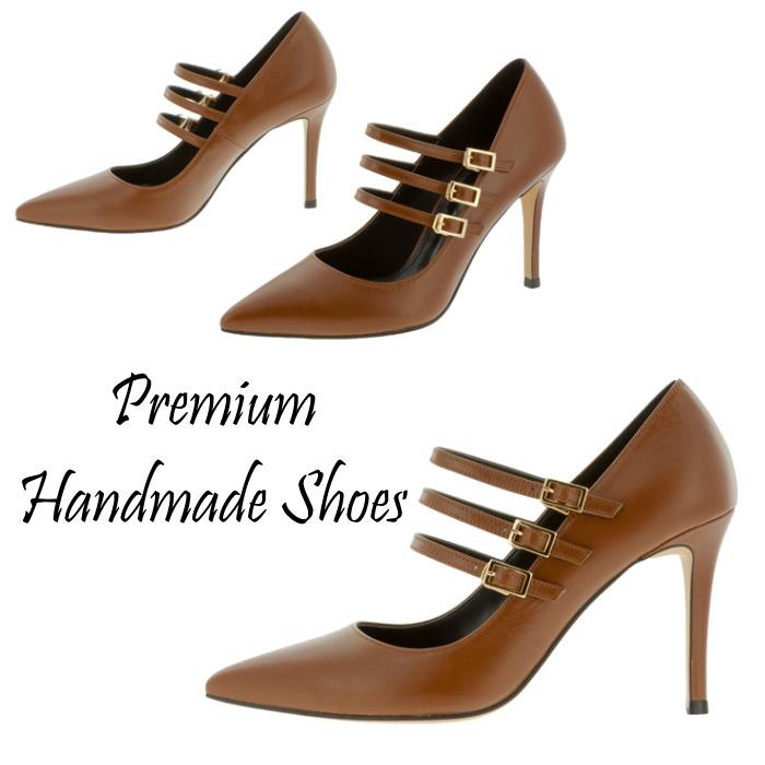 3連ストラップレザーパンプス 本革パンプス ハンドメイドシューズ 靴通販
