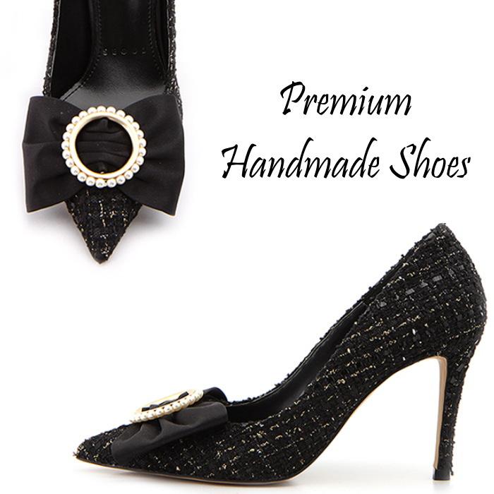 ツイードリボンパンプス パンプス ハンドメイドシューズ 靴通販