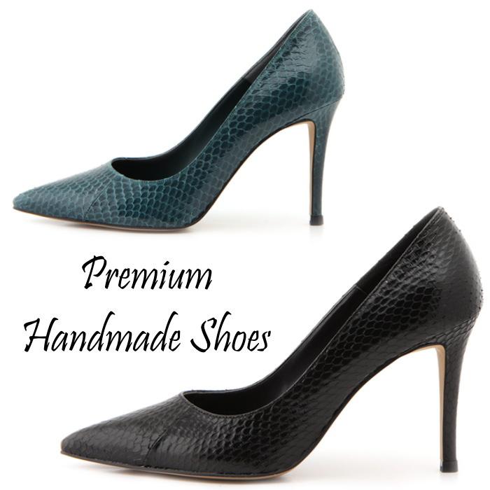 パイソンレザーパンプス 本革パンプス ピンヒール ハンドメイドシューズ 靴通販