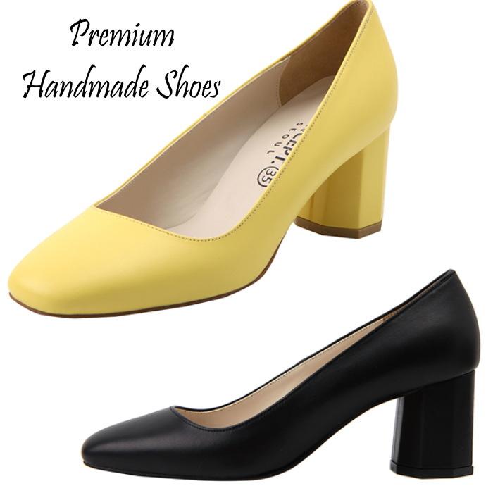 シンプルベーシック チャンキーヒールレザーパンプス ハンドメイドシューズ 靴通販
