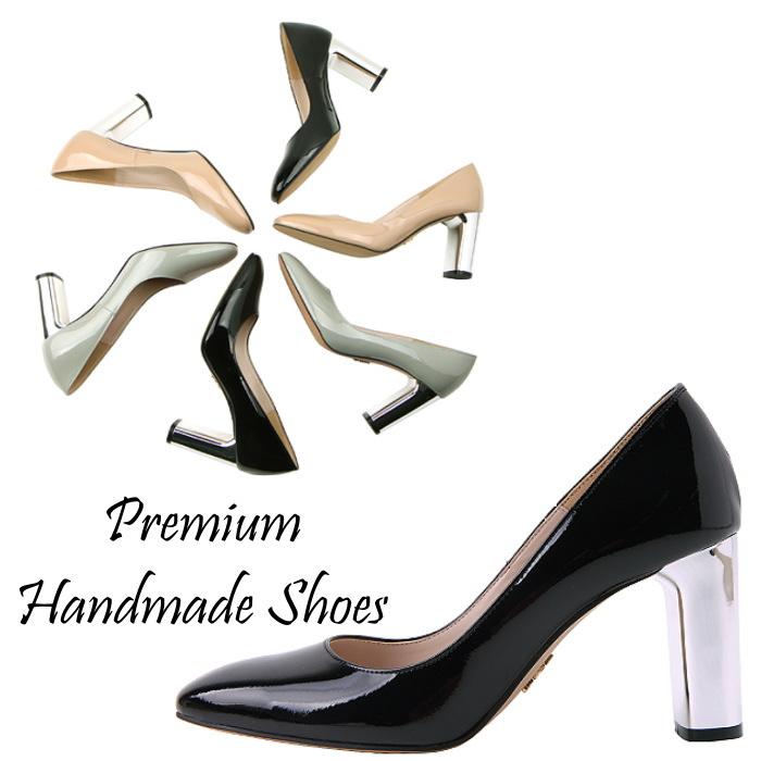メタリックチャンキーヒールレザーパンプス ハンドメイドシューズ 靴通販