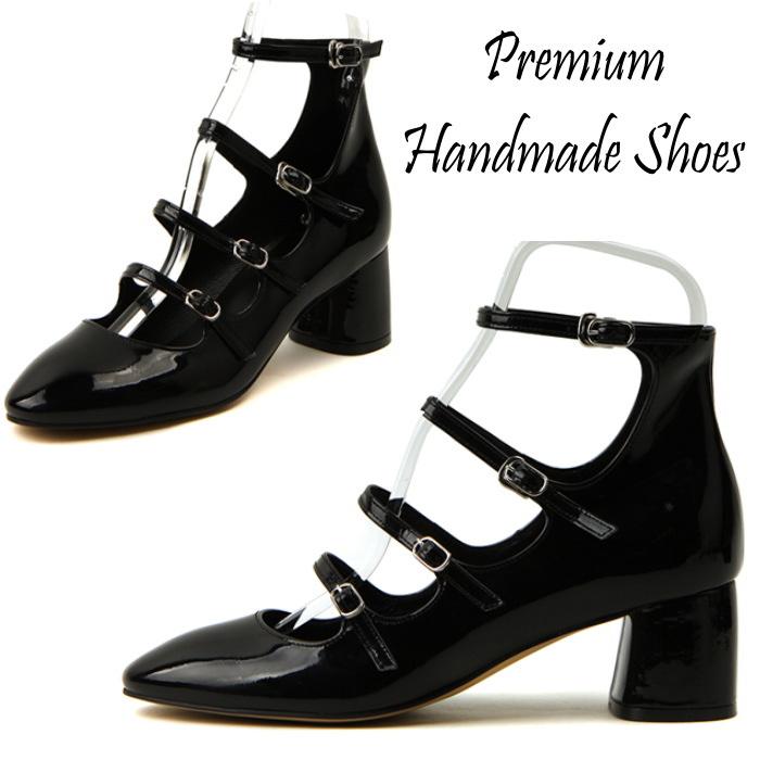 4連ストラップチャンキーヒールレザーパンプス ハンドメイドシューズ 靴通販