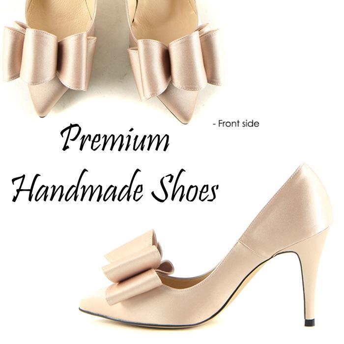 ビッグリボンサテンパンプス  ピンヒール ハンドメイドシューズ 靴通販