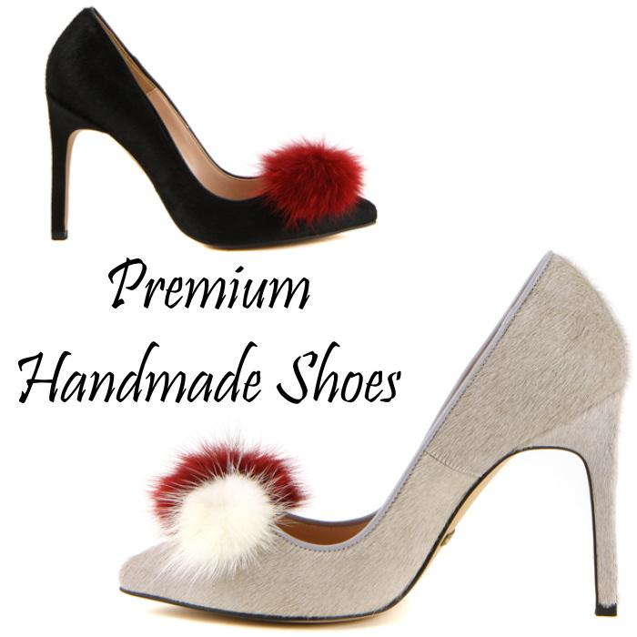 シンプルベーシックファーボンボンパンプス ハンドメイドシューズ 靴通販