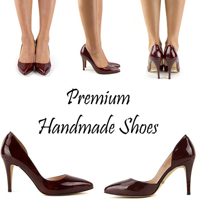 サイドカッティングレザーパンプス ハンドメイドシューズ 靴通販