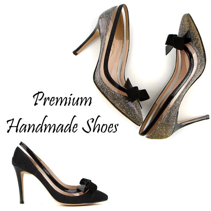異素材切り替えリボンレザーパンプス ハンドメイドシューズ 靴通販