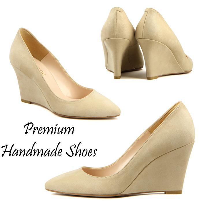 ウエッジヒールスエードレザーパンプス ハンドメイドシューズ 靴通販