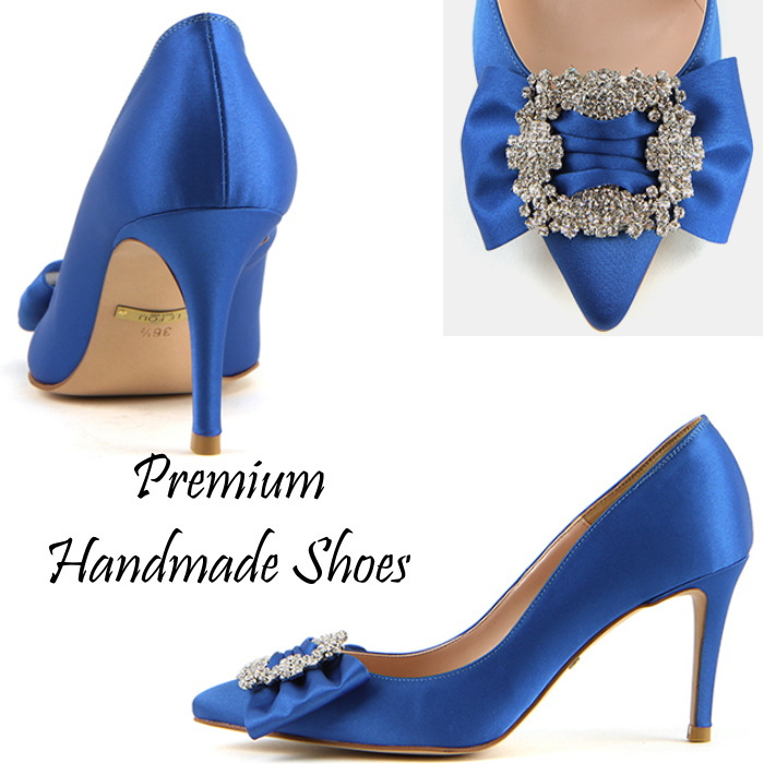 キラキラビジューリボンパンプス ハンドメイドシューズ 靴通販
