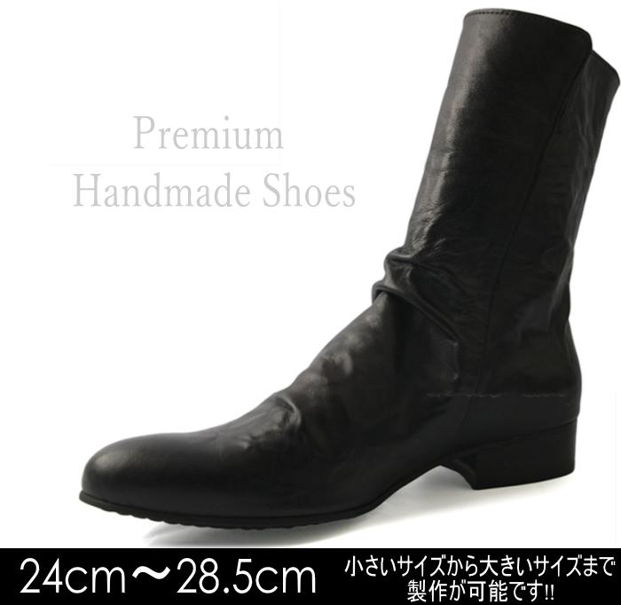 サイドジップレザーブーツ/全1色 ハンドメイド メンズ メンズブーツ レザー 本革 レザーブーツ サイドジップ 綺麗目ブーツ ビジネス