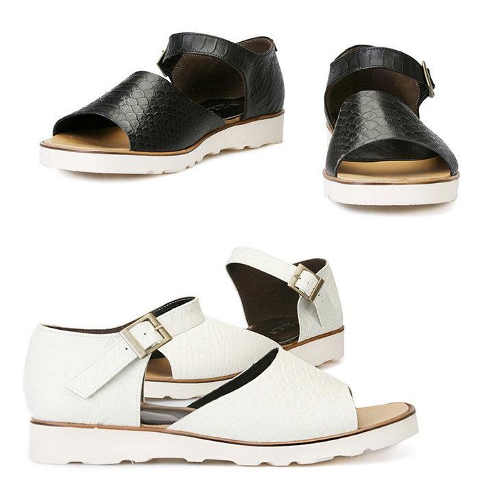 パイソン型押しレザーアンクルベルトサンダル/全2色 メンズ ハンドメイド サンダル レザーサンダル ストラップサンダル メンズサンダル 靴