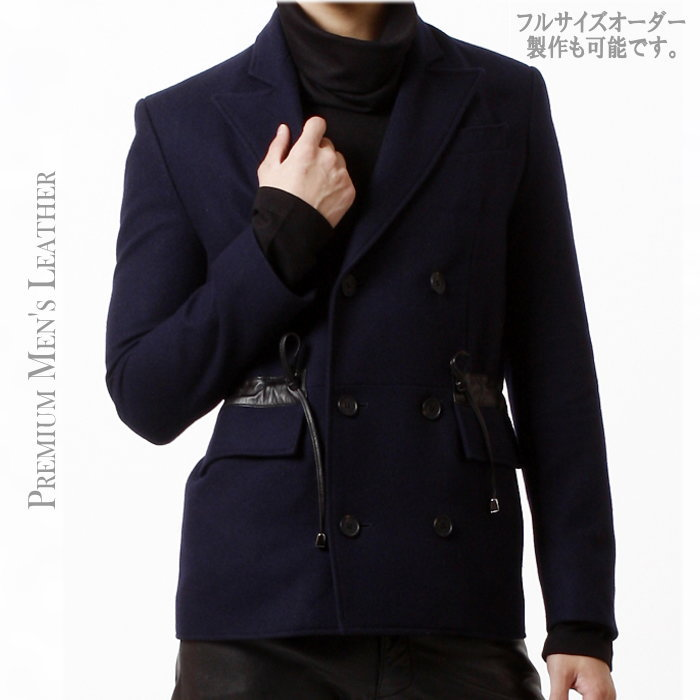 レザー切換えPコート/全1色 ハンドメイド レザージャケット 本革 レザー コート Pコート 大きいサイズ 小さいサイズ