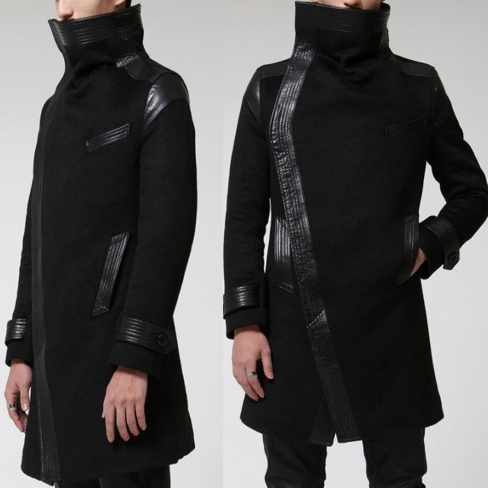 異素材切り替えコート/全1色 ハンドメイド メンズコート ロングコート ウールコート 大きいサイズ 小さいサイズ