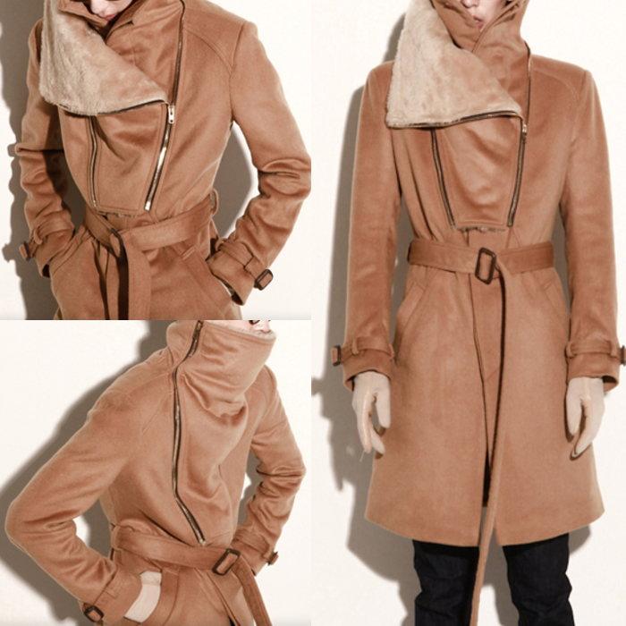 ファー切り替えロングコート 全1色 ハンドメイド メンズコート ロングコート コート 大きいサイズ 小さいサイズ 季節のご挨拶 楽天年間ランキング受賞 ホワイトデー