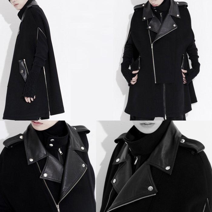 異素材切り替えメンズポンチョ/全1色 ハンドメイド メンズコート ロングコート ポンチョ 大きいサイズ 小さいサイズ