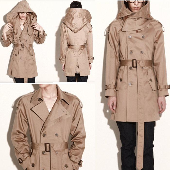 小さいサイズ ロングコート ハンドメイド 脱着可能フード付きトレンチコート/全1色 コート トレンチコート 大きいサイズ メンズコート