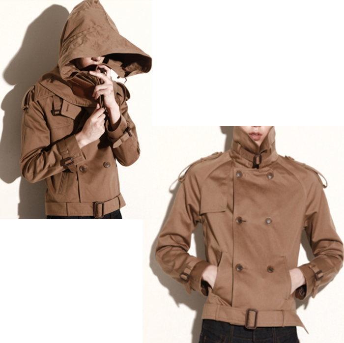 脱着可能フード付きPコート/全1色 ハンドメイド メンズコート Pコート コート 大きいサイズ 小さいサイズ