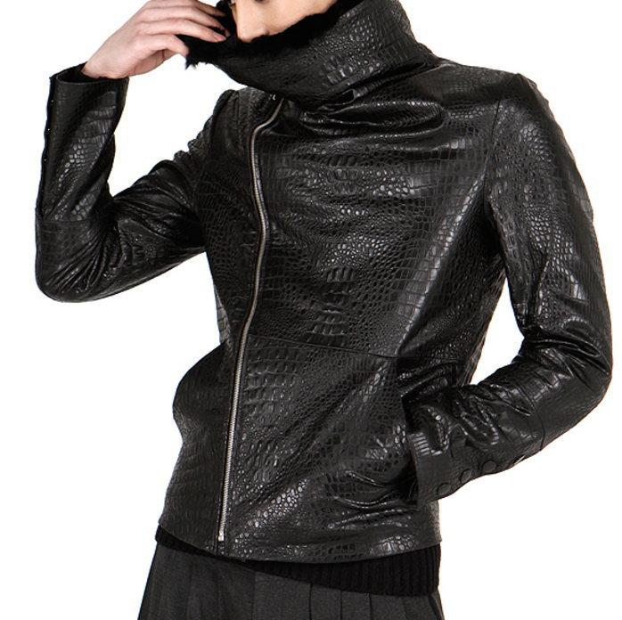 ファー切り替えレザージャケット/全1色 ハンドメイド メンズアウター ライダースジャケット 本革 レザージャケット 大きいサイズ 小さいサイズ