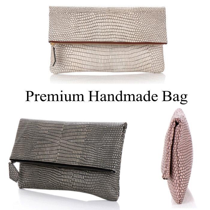 クロコ型押し折り返しデザインレザークラッチバッグ/全3色 本革バッグ クラッチバッグ BAG 鞄 レザー 本革