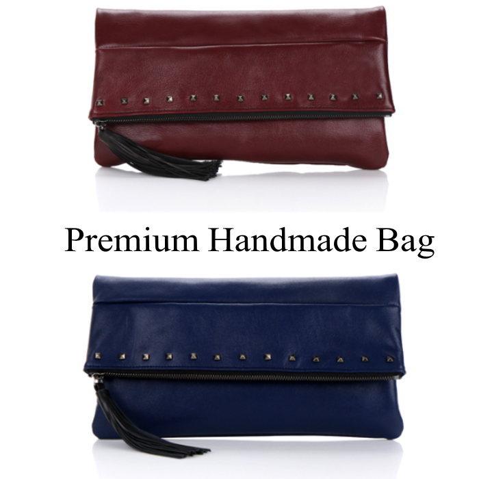 折り返しデザインスタッズレザークラッチバッグ/全3色 本革バッグ クラッチバッグ BAG 鞄 レザー 本革