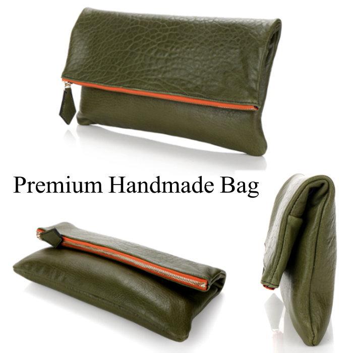 本革バッグ 鞄 折り返しデザインレザークラッチバッグ/全1色 BAG レザー 本革 クラッチバッグ