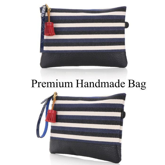 ボーダー柄レザークラッチバッグ/全1色 本革バッグ クラッチバッグ BAG 鞄 レザー 本革