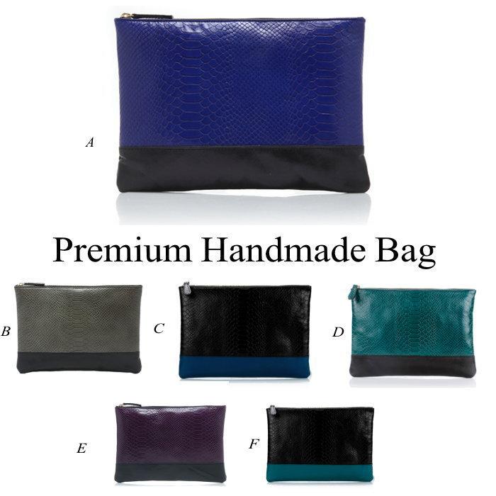 クロコ型押しバイカラーレザークラッチバッグ/全6色 本革バッグ クラッチバッグ BAG 鞄 レザー 本革