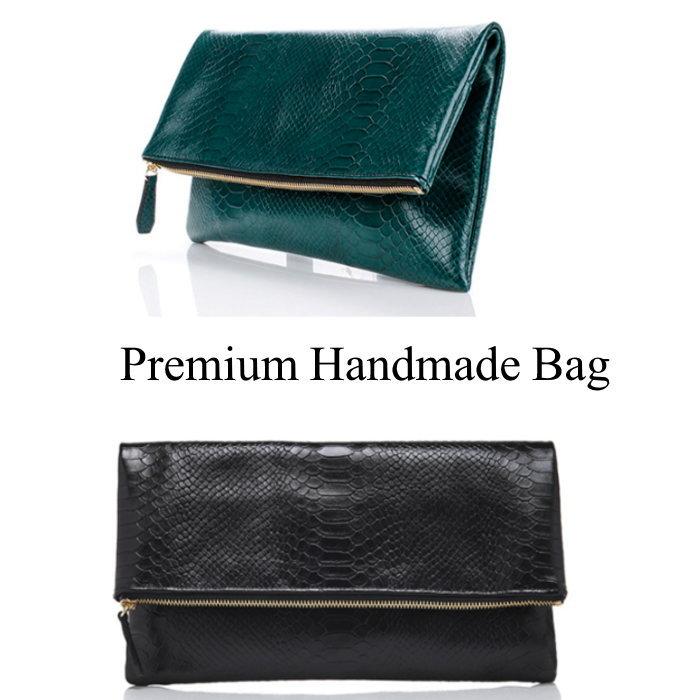 クロコ型押し折り返しデザインレザークラッチバッグ/全5色 本革バッグ クラッチバッグ BAG 鞄 レザー 本革
