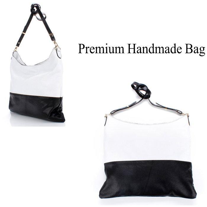 バイカラーレザーショルダーバッグ/全3色 本革バッグ BAG 鞄 レザー 本革