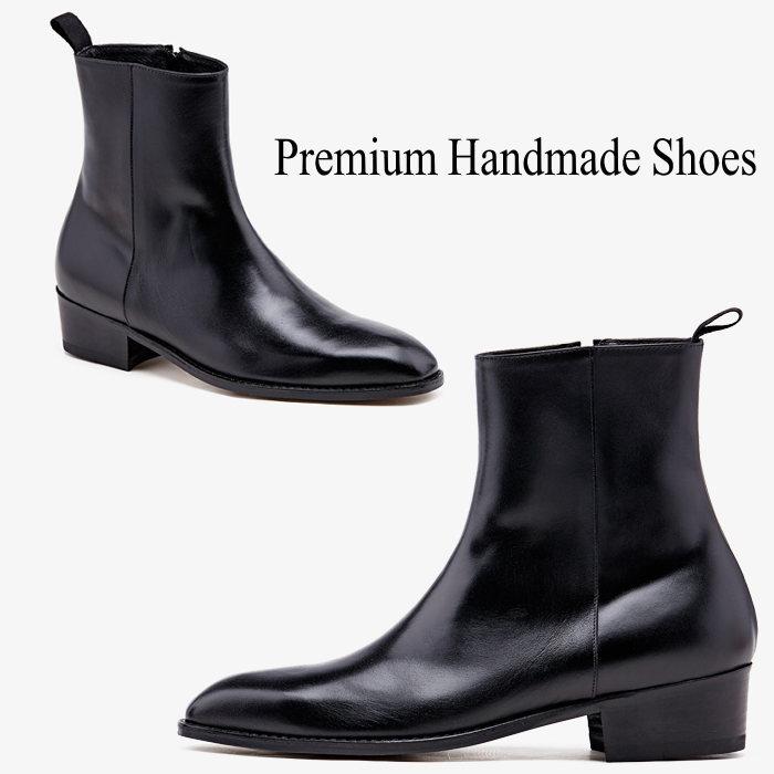 サイドジップレザーブーツ/全1色 ハンドメイド シューズ ブーツ 靴 レザー 本革 レザーブーツ ビジネス 本革ブーツ