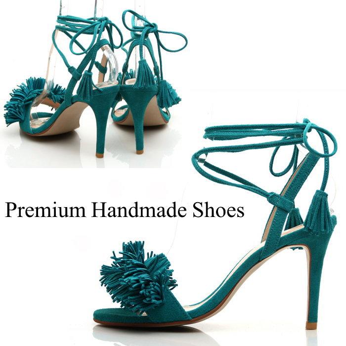 SCフリンジレースアップスエードレザーパンプス 本革 ピンヒール ハンドメイドシューズ 靴通販