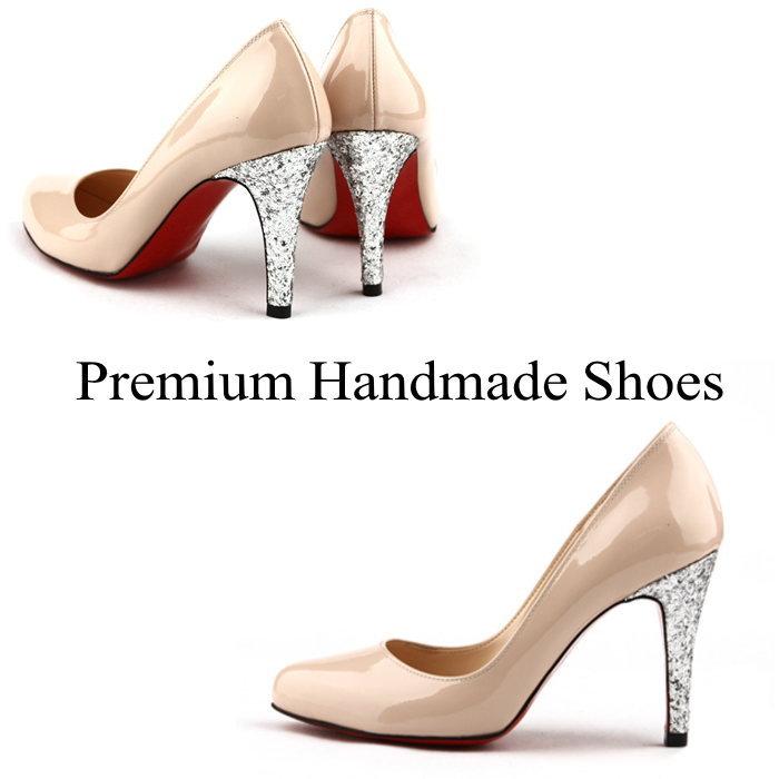 SCラメグリッターヒールレザーパンプス 本革 ハンドメイドシューズ 靴通販