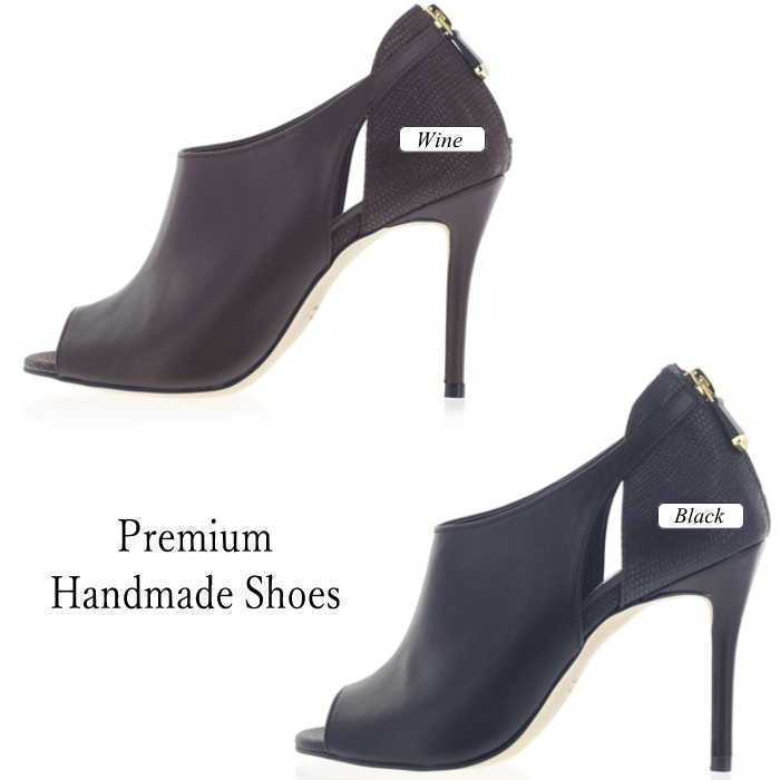 オープントゥ異素材切り替えレザーブーツ  本革ブーツサンダル ハンドメイドシューズ 靴通販