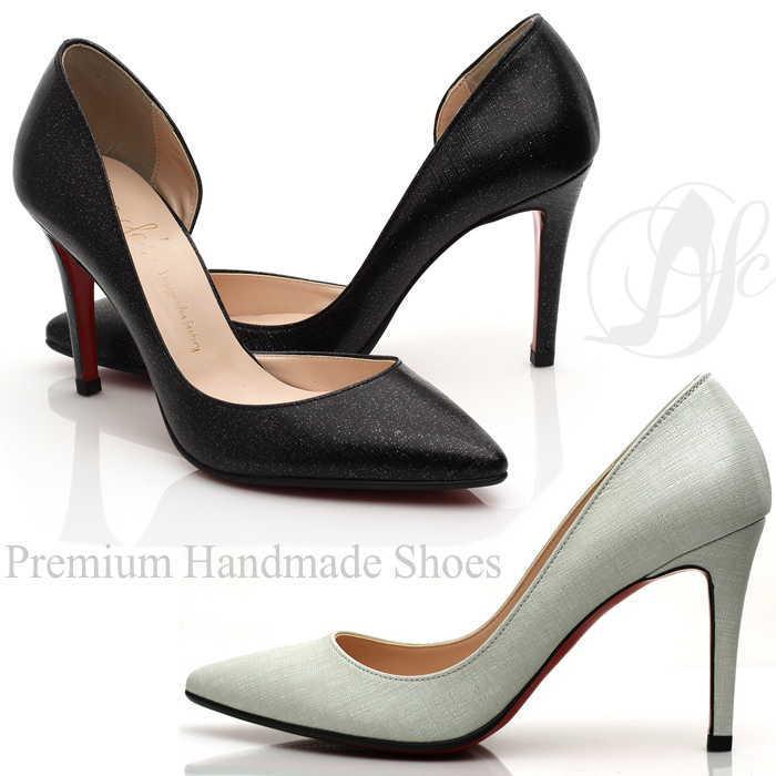 サイドカッティングレッドソールレザーパンプス 本革パンプス ハンドメイドシューズ 靴通販 レッドソール レザーパンプス