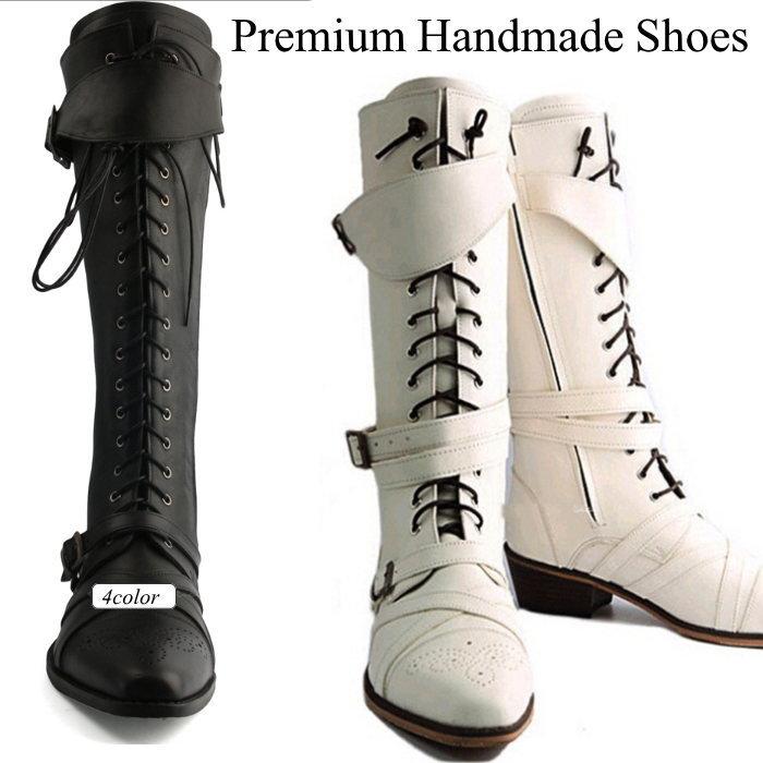 レザーロングブーツ レースアップレザーブーツ/全4色 ハンドメイド ブーツ レザーブーツ 本革ブーツ メンズブーツ カジュアルブーツ メンズシューズ レザー 本革 ロングブーツ