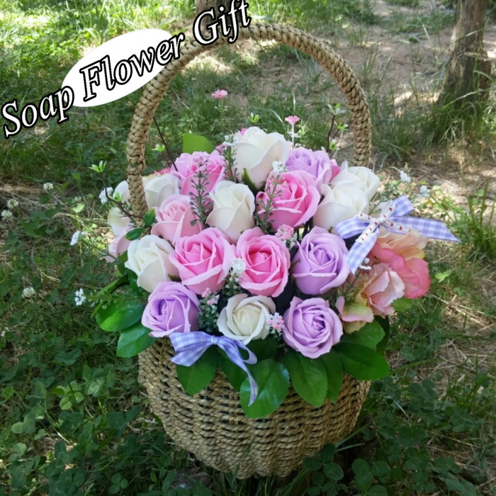 ソープフラワー薔薇バスケット ローズバスケット 石鹸花 バラ花かご