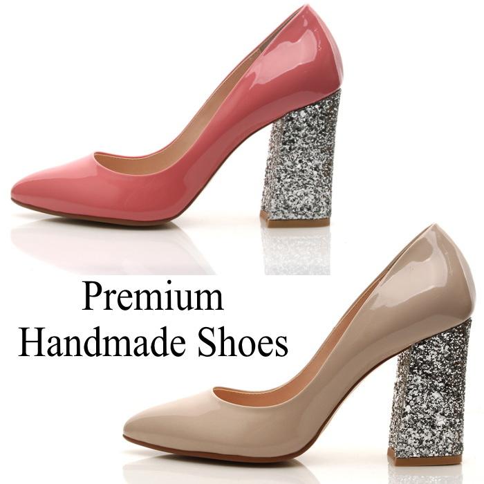 ラメグリッターヒールレザーパンプス 本革パンプス ハンドメイドシューズ 靴通販