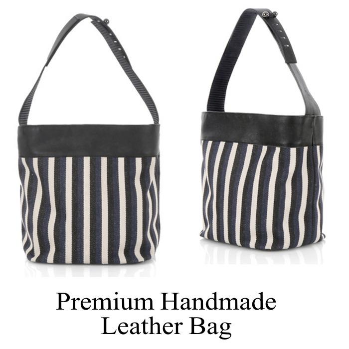 ストライプレザーバッグ ハンドバッグ 本革バッグ 鞄 レザー 本革