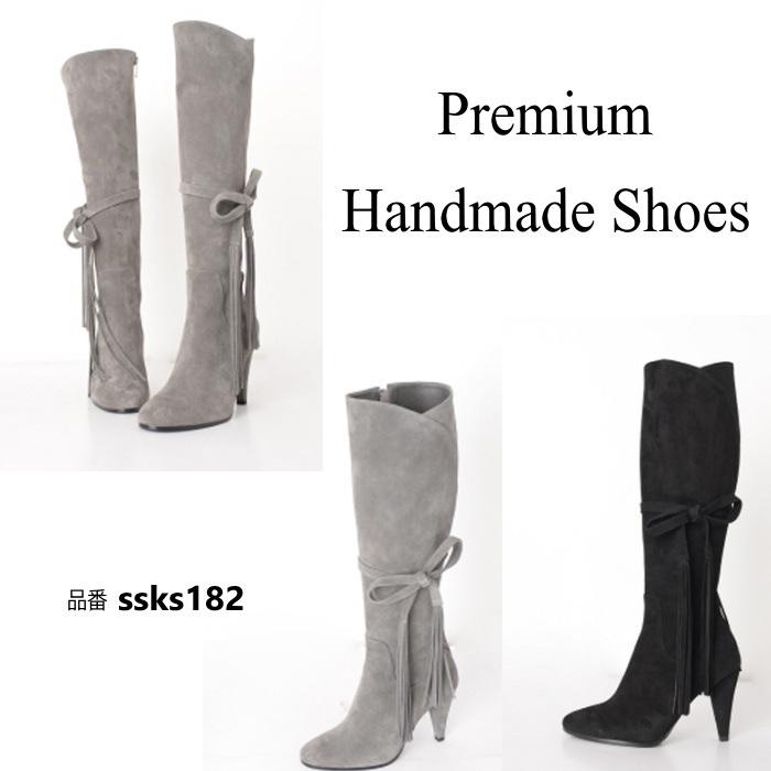 【送料無料】リボンスエードレザーロングブーツ ハンドメイドシューズ 本革ブーツ 小さいサイズ 大きいサイズ21.5cm 22cm 22.5cm 23cm 23.5cm 24cm 24.5cm 25cm 25.5cm