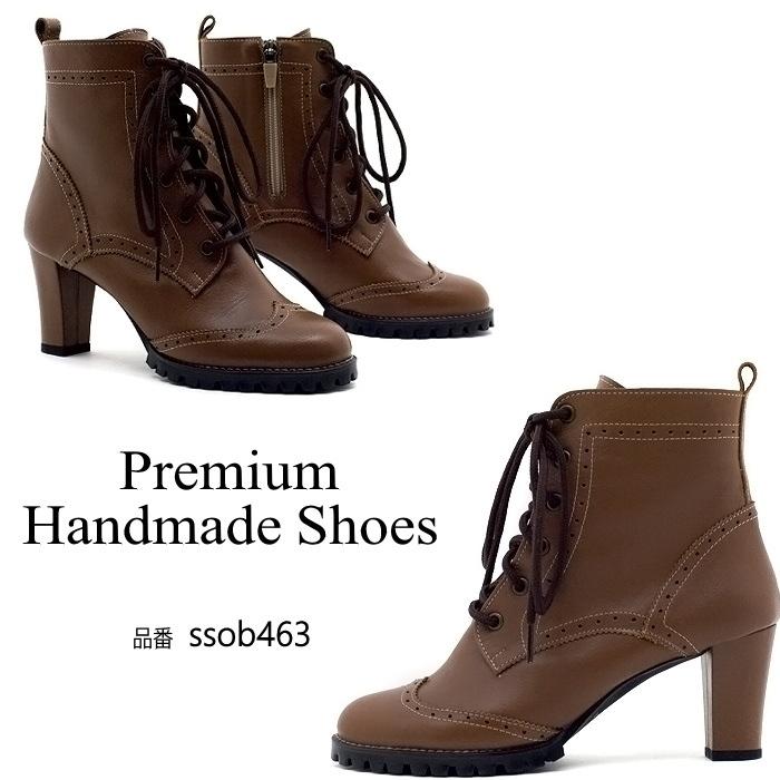 チャンキーヒールレースアップレザーブーツ 本革ブーツ ハンドメイドシューズ 靴通販 レディース本革シューズ