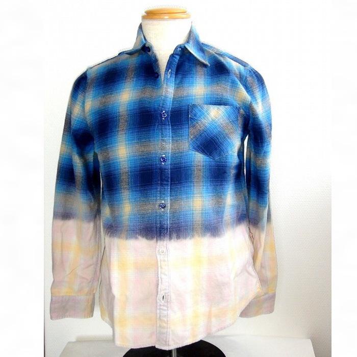 シャイナ グラデーションチェックシャツ チェックシャツ メンズシャツ