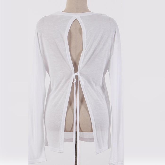 ご予約品 永遠の定番 背中開き SEXY Tシャツ 無地 背中開きSEXYTシャツ 長袖