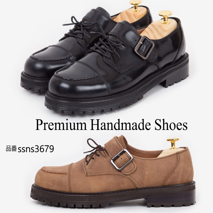 ベルトレザーシューズ/全2色 ハンドメイドシューズ シューズ 靴 レザー 本革 レザーシューズ
