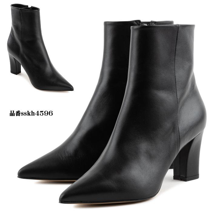 チャンキーヒールレザーショートブーツ ハンドメイドシューズ 本革ブーツ 小さいサイズ 大きいサイズ
