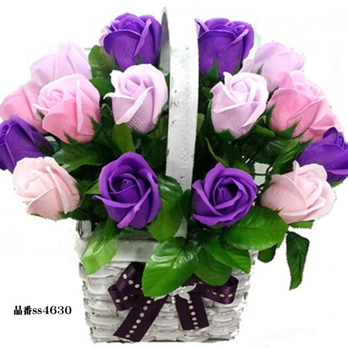 ソープフラワー 花かご 20本タイプ 薔薇 はなかご バスケット 薔薇かご ローズかご