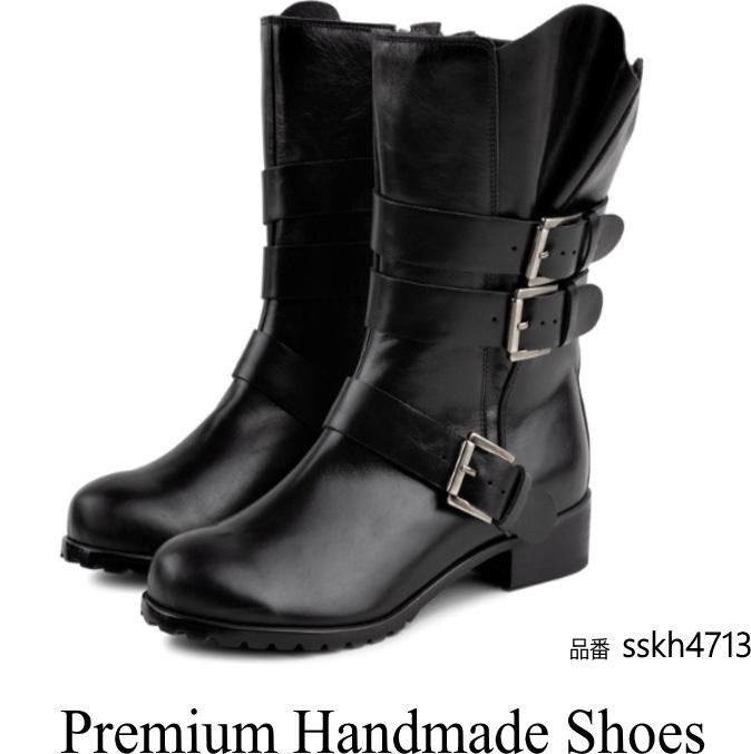 レザーブーツベルトデザイン ハンドメイドシューズ 本革ブーツ 小さいサイズ 大きいサイズ