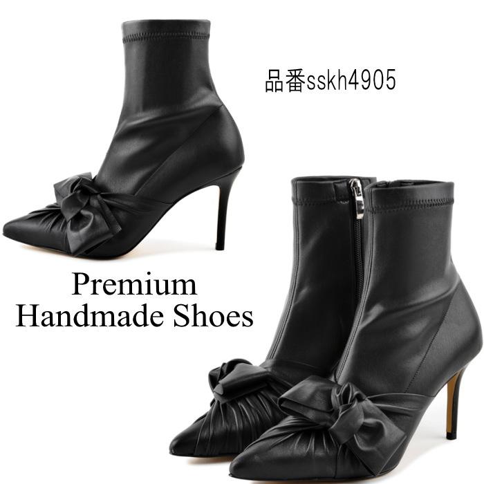 リボンレザーブーツ ブーティー ハンドメイドシューズ 本革ブーツ 小さいサイズ 大きいサイズ