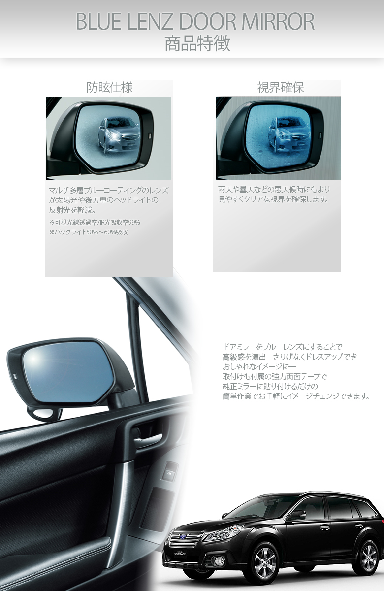 GLARE PROOF BLUE SIDE MIRROR bB CX-5 ATENZA ESTIME CROWN HIACE 200# FIT GE6~9 PRIUS V nbox LEGACY ALPHARD VELLFIRE