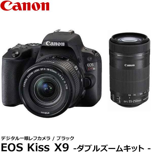 【送料無料】 キヤノン EOS Kiss X9 ブラック ダブルズームキット 2248C003 [Canon 小型軽量一眼レフカメラ 2420万画素 バリアングル液晶モニター EOSKISSX9BK-WKIT]